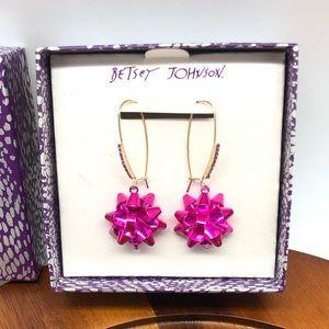 Betsey Johnson Fuchsia Holiday Bow Earrings